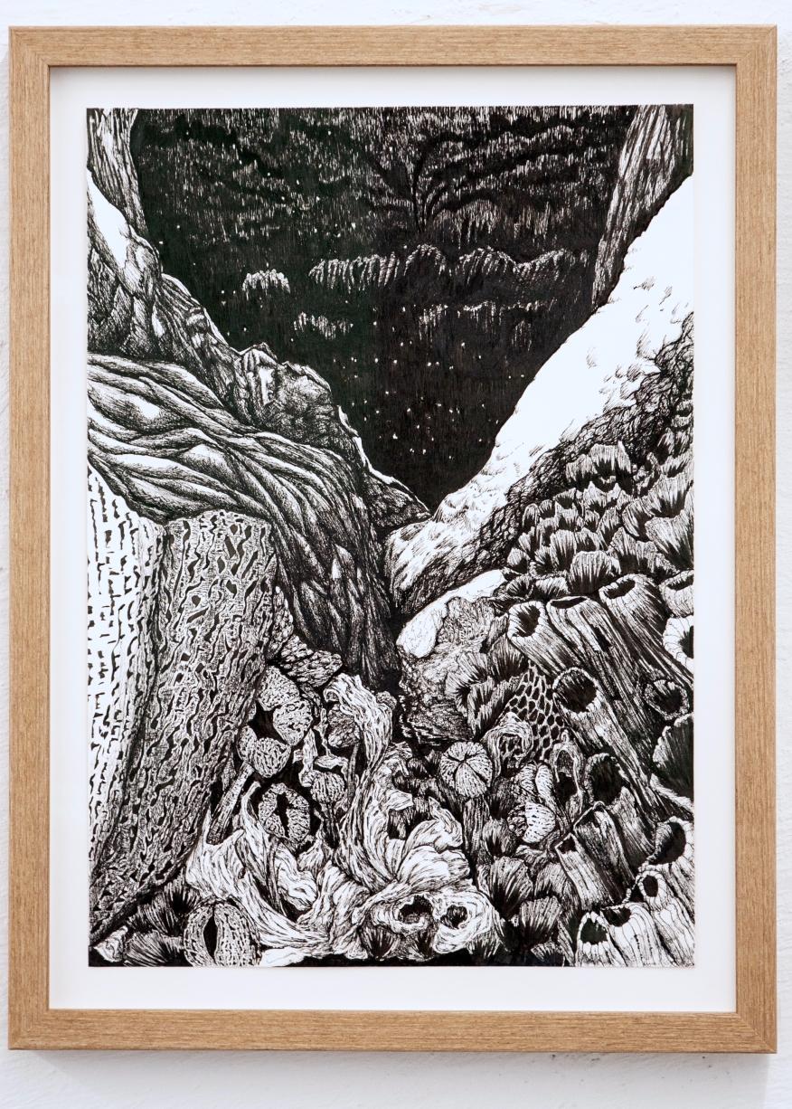 Et indre sàiva, tegning med dikt, penn og penseltusj, 2018 JUSTERT
