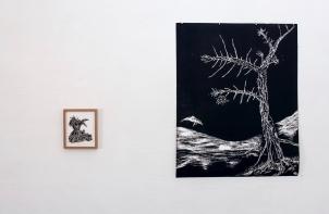 I et sàiva #1, penn, 2017 og Saltvannsblomst #10 Susan Sontag, tresnitt, 2018 JUSTERT